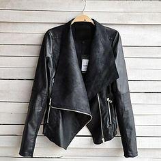 meroketty®women der Reverskragen Mode individuelle Passform Leder Reißverschluss Mantel