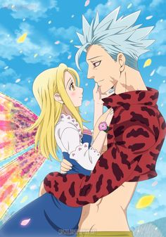 Nanatsu no Taizai // The Seven Deadly Sins // Ban and Elaine, Seven Deadly Sins Anime, 7 Deadly Sins, Ban And Elaine, Ban Anime, 7 Sins, Seven Deady Sins, Anime Angel, I Love Anime, Anime Ships