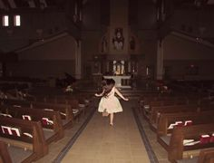 You see that little girl, skipping happily to the altar of the church. You decide not to tell her about the priest's glowing red eyes, let alone whatever that thing is behind the priest.