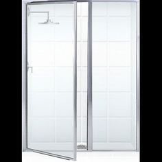 "Coastal Industries Legend Series Framed 37"" x 66"" Hinged Shower Door and Inline Panel Frame Finish: Brite Silver (Chrome), Glass Type: Clear"