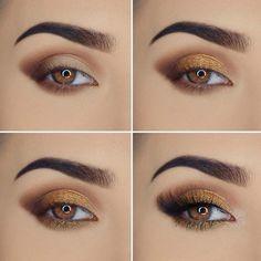 Hazel Eye Makeup, Eye Makeup Art, Gold Makeup, Makeup For Green Eyes, Eye Makeup Tips, Smokey Eye Makeup, Makeup Eyeshadow, Eyeshadow Ideas, Makeup Ideas