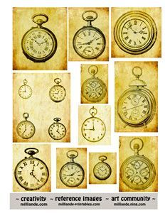 Free Printable Collage Sheets Grunge Pocket Watch Steampunk 1