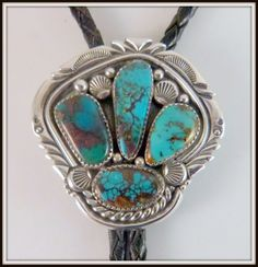 VTG Sterling Silver & 4 Turquoise BOLO SIGNED Jeanette Dale Navajo bola tie #Unbranded