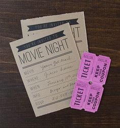 movie night party with free printables: invites, movie bingo Outdoor Movie Party, Movie Night Party, Family Movie Night, Event Invitation Design, Invite, Movie Party Invitations, Bingo Night, Backyard Movie Nights, Party Entertainment