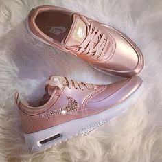 Nike Air Max Thea Womens Rose Gold Trainers with Swarovski Cute Shoes, Women's Shoes, Me Too Shoes, Shoe Boots, Shoe Bag, Pink Shoes, Rose Gold Shoes, Shoes Style, Shoes Men