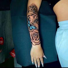 Arm Sleeve Tattoos For Women, Dope Tattoos For Women, Black Girls With Tattoos, Shoulder Tattoos For Women, Spine Tattoos, Best Sleeve Tattoos, Badass Tattoos, Gun Tattoos, Script Tattoos
