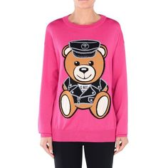 Moschino Dressed Teddy Bear Womens Long Sleeves Mini Dress Rose
