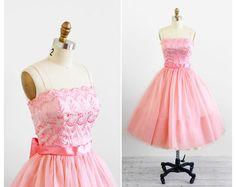 vintage 1950s dress / 50s dress / Pink Organza by RococoVintage, $386.00