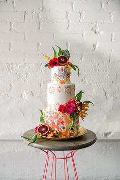 intricate Cinco de Mayo cake with colorful animal motifs, tropical flowers and pomegranate accents