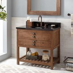 Benoist Reclaimed Wood Console Vanity for Semi-Recessed Sink - Gray Wash Pine - Bathroom Vessel Sink Vanity, Bathroom Vanity Cabinets, Single Bathroom Vanity, Bathroom Furniture, Small Bathroom, Bathroom Vanities, Single Vanities, Mirror Vanity, Washroom
