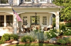 pretty landscaping & porch