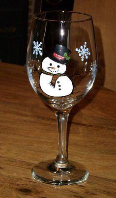 Happy Snowman 20 oz teardrop wine glass hand painted