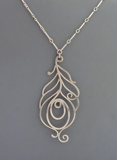 Sterling Silver Peacock Necklace, Rachel Wilder Handmade Jewelry
