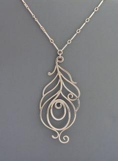Sterling silver handmade peacock necklace, Rachel Wilder Handmade Jewelry