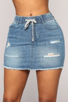 Trendy Drawstring Waist Distressed Ripped Raw Hem Mini Bodycon Blue Denim Skirt Amazing Wedding Dresses On Sale, Perfect Fit For Your Dream Wedding! Denim Skirt Outfits, Blue Denim Skirt, Jean Skirt, Distressed Denim Jeans, Ripped Denim, Short Skirts, Mini Skirts, Cheap Skirts, Skirt And Sneakers