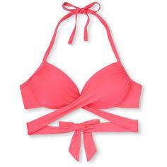 Women's Wrap Push Up Halter Bikini Top - Mossimo : Target ($13) ❤ liked on Polyvore featuring swimwear, bikinis, bikini tops, push-up bikinis, wrap swimsuit top, push up halter bikini, wrap bikini top and wrap bikini