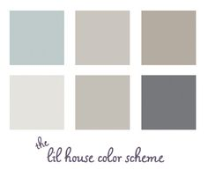 Left to Right, Top to Bottom: 1) Living Room Wedgewood Gray/Benjamin Moore HC-146. 2) Hall-Himalayan Trek/Benjamin Moore 1542 3) 2nd bedroom - Waynesboro Taupe/Benjamin Moore 1544. 40 Gray Ghost Olympic D17-2 5) Silver Fox Benjamin Moore 2108-50 6) Cracked Slate / Olympic D44-5