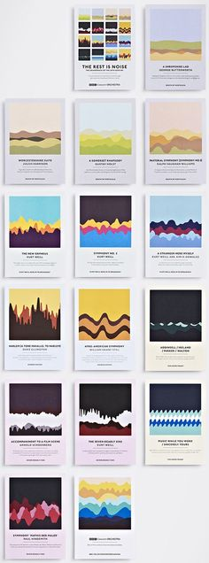 Taking soundwaves as a graphic cue, Studio Output has designed a set of colourful postcards to promote a series of upcoming BBC Concert Orchestra events at London& Southbank Centre. Game Design, Font Design, Graphisches Design, Buch Design, Poster Design, Graphic Design Typography, Layout Design, Studio Design, Layout Inspiration