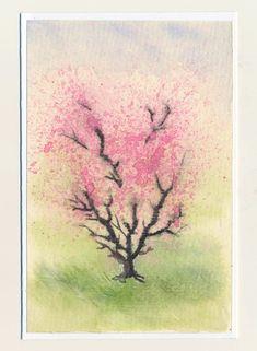 maľovaná pohľadnica - rozkvitnutý strom