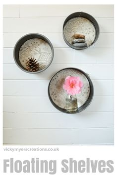 How to Upcycle Cake Tins into Round Floating Shelves - vicky myers creations Round floating shelves - create your won shelves by upcycling cake tins. Modern Floating Shelves, Floating Shelves Bedroom, Floating Shelves Kitchen, Modern Shelving, Shelving Ideas, Storage Ideas, Room Shelves, Shelf Ideas, Organization Ideas