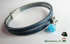 Filigranes Lederarmband in blau von Bijouxbaron_24 auf DaWanda.com