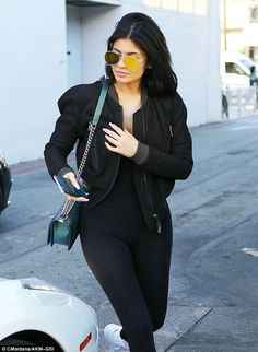 091719b2e60 Kylie Jenner wears sheer leggings as she joins Kim Kardashian
