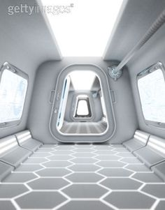 good proportions for honeycomb design on floor, doors and above lighting... retro spaceship interior - Google Search