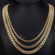 3/5/7 mm Men's Chain Gold Tone Curb Cuban Link Stainless Steel Necklace 18-36 inch HOT