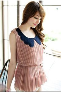 Pink Sleeveless Pleated Asian Fashion Blouse With Flower Shaped Collar