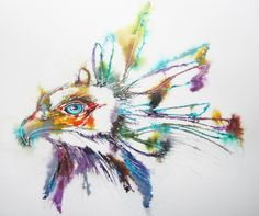 """Secretary Bird"" by Lynn Norton © Acrylic ink on half imperial Bockingford NOT watercolour paper."