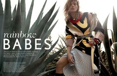 Daria Werbowy Sports Tribal In 'Rainbow Babes' By Mario Testino For Vogue UK March 2014 Vogue Uk, Vogue Spain, Vogue India, Arty Fashion, Fashion Images, Vogue Fashion, Trendy Fashion, Ideias Fashion, Fashion Show