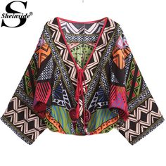 Sheinside Vintage Tribal Print Blusas  Women Multicolor V Neck Crop Floral Print Ladies Newest Loose Casual Blouse alishoppbrasil