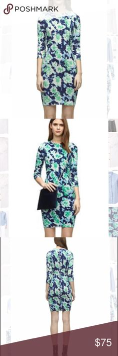 "Silk-Blend Lorie Powdered Floral Dress, Multi Blue Styled with a rounded neckline, three-quarter length sleeves, seaming detail used to contour around the figure and an on-trend full length exposed zip fastening. Team with a leather biker jacket and heeled ankle boots for an edgy style. Material : 95% Silk, 5% Elastene. UK Size : 6 = US Size 2. Runs true to size. Total dress length: 37"" / Waist: 13"" (across lying flat) / Sleeve length: 18"".                                       ECU. Only…"