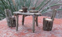 Miniture  Fairy Table and chairs with plates and by ByThese2Hands
