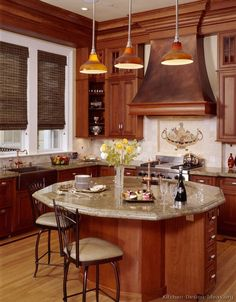 Traditional Medium Wood (Cherry) Kitchen Cabinets - I like the cabinet color
