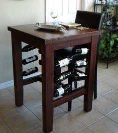 Custom Made Brinkman Pub Table With Wine Storage