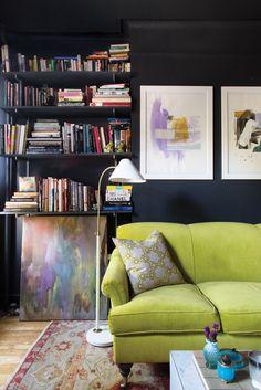 dark walls, bright sofa