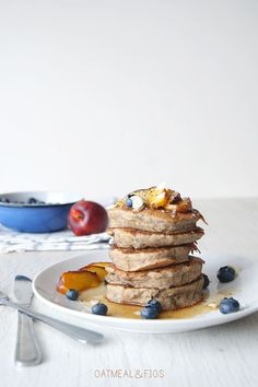 Coconut Buckwheat Vegan Chia Seed Pancakes with Peach Syrup