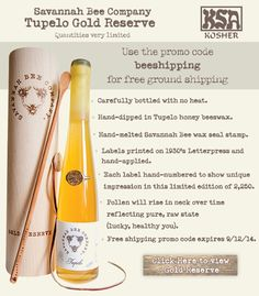 Savannah Bee Company Tupelo Gold Reserve - Limited Quantities - Free Shipping