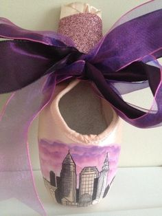 CLEVELAND city skyline pointe shoes- via the Ballet in Cleveland shop! https://www.etsy.com/listing/164117005/handpainted-cleveland-skyline-pointe?ref=shop_home_active_20