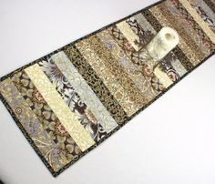 Elegant Table Runner Quilt in Black Gray and by QuiltSewPieceful, $40.00