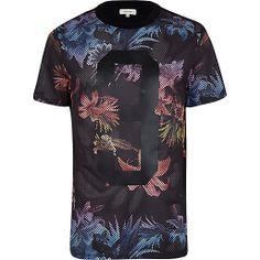 Black floral print mesh 3 t-shirt #riverisland #rimenswear