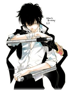 """vongolarings: """" Happy Birthday to Hibari from Amano's Twitter ! He looks very cool, I hope that Kusakabe will give him a nice gift and that he will have a quiet and peaceful birthday ! """" Hitman Reborn, Reborn Katekyo Hitman, Manga Anime, Anime Eyes, Anime Art, Manga Art, Black Anime Characters, Estilo Anime, Comic Artist"""