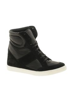 ++ deny wedge high top sneakers with suede detail