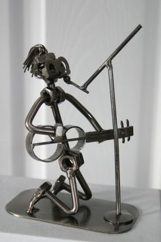 Rock Star Singer Playing Guitar and Singing - Metal Nuts & Bolts Figurine Music