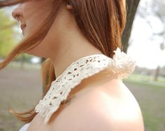 VINTAGE Cream SnapOn Collar by THESALTYFAWN on Etsy, $25.00