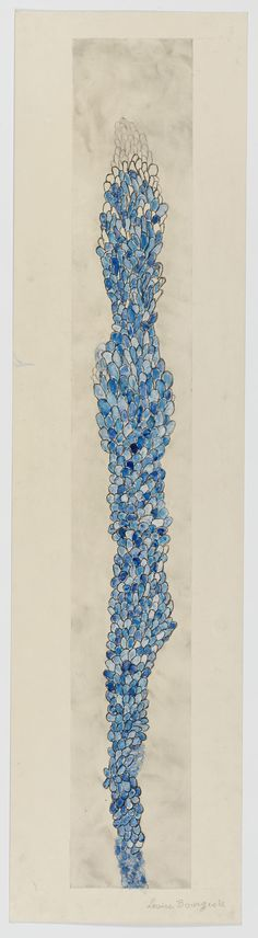 Louise Bourgeois, Swaying, Etching, ink, watercolor and pencil on paper  105.1 x 38.1 cm / 41 3/8 x 15 in