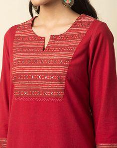 Salwar Kameez Neck Designs, Churidar Designs, Kurta Neck Design, Simple Kurta Designs, Kurta Designs Women, Dress Neck Designs, Stylish Dress Designs, Hand Embroidery Design Patterns, Embroidery Ideas