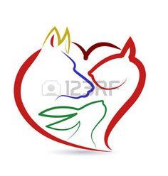 disegno stilizzato: Gatto cane uccelli e forma di cuore di coniglio creativo icone vettoriali Vettoriali