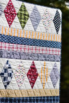 Prep Quilt in Varsity fabric collection.  Pieced and quilted by Christa from Cotton Berry Quilts on Etsy.